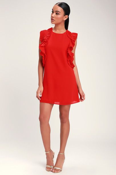 WE GOT THE PLEAT RED STATEMENT SLEEVE SHIFT DRESS