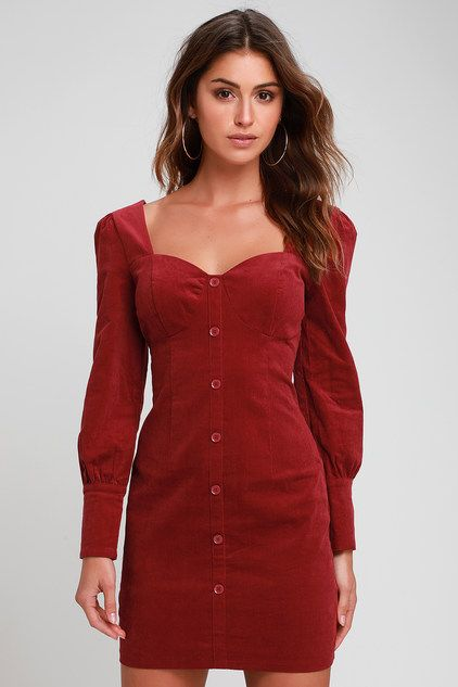 WENTWORTH WINE RED CORDUROY LONG SLEEVE BODYCON DRESS