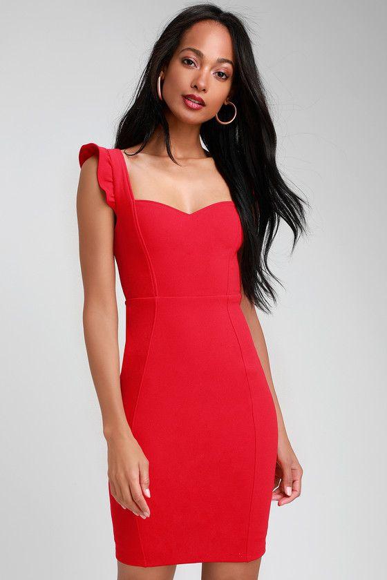 MIRIAM RED RUFFLED BODYCON DRESS