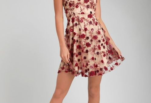 SO EXCITED NUDE EMBROIDERED SEQUIN SKATER DRESS
