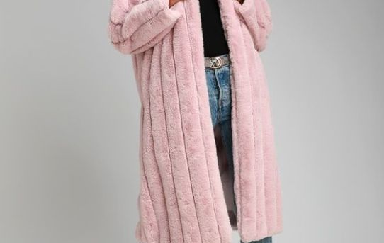 COZY QUEEN BLUSH PINK FAUX FUR LONG COAT