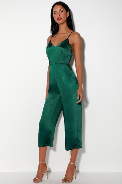TURN THE SPOTLIGHTS ON FOREST GREEN SATIN CULOTTE JUMPSUIT