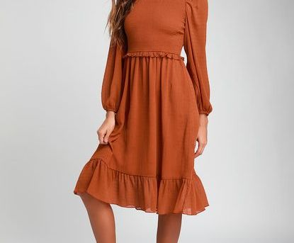 WHENEVER I'M WITH YOU RUST ORANGE SMOCKED LONG SLEEVE MIDI DRESS