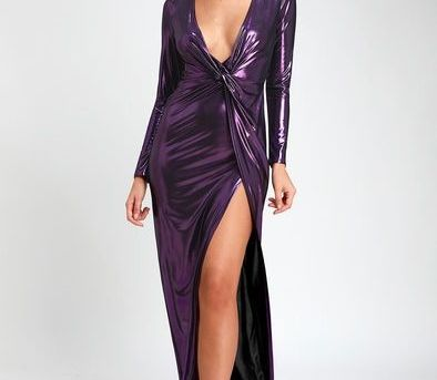SUPERNOVA GIRL PURPLE TWIST-FRONT LONG SLEEVE MAXI DRESS