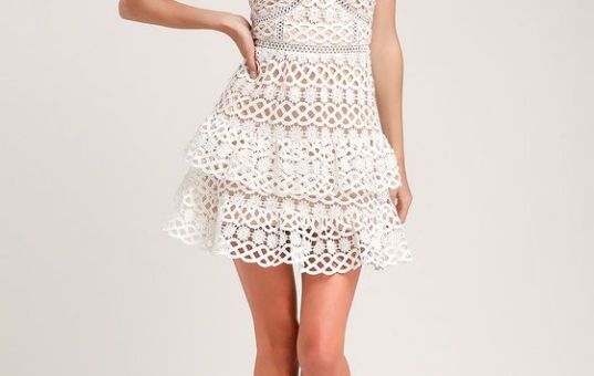 BEAUTY AND LACE WHITE AND NUDE CROCHET LACE MINI DRESS
