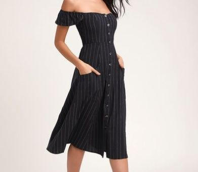 SHADY SPOT WASHED NAVY BLUE STRIPED OFF-THE-SHOULDER MIDI DRESS