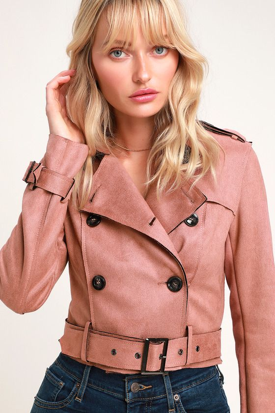 EDINBURGH MAUVE SUEDE CROPPED TRENCH COAT
