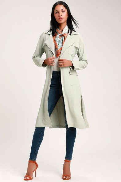 PICK OF THE CHIC SAGE GREEN LIGHTWEIGHT LONGLINE JACKET