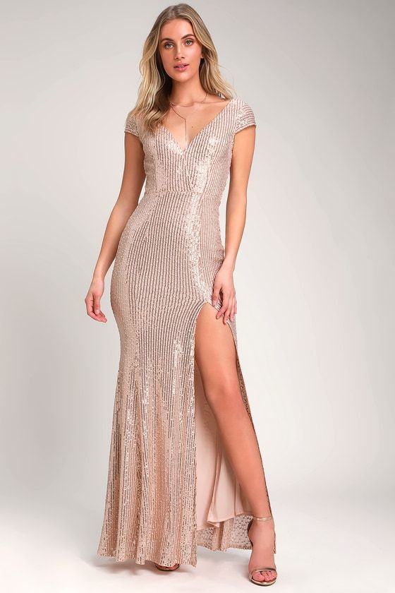 CATCHING COMPLIMENTS ROSE GOLD SEQUIN MAXI DRESS