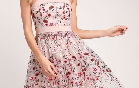 BEAUTIFUL DAY TAUPE FLORAL EMBROIDERED STRAPLESS MIDI DRESS