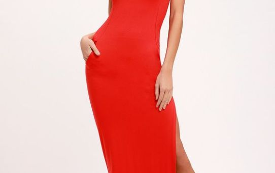 SHIELD AND SWORD RED SLEEVELESS MAXI DRESS
