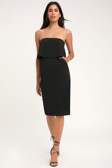 LOTS OF LOVE BLACK STRAPLESS MIDI DRESS