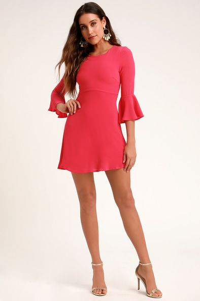 CENTER OF ATTENTION BRIGHT PINK FLOUNCE SLEEVE DRESS