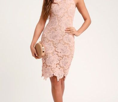 TEMPS DE L'AMOUR BLUSH PINK LACE BODYCON MIDI DRESS