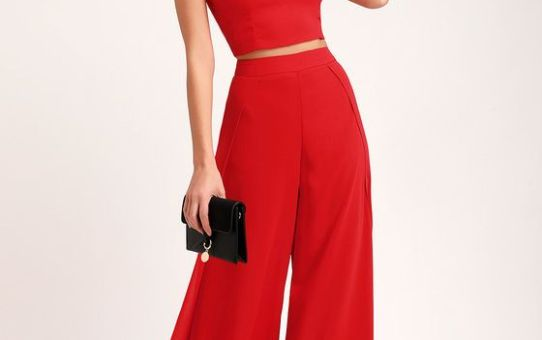OUT TONIGHT RED TWO-PIECE JUMPSUIT