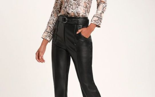 LEANNA BLACK VEGAN LEATHER BELTED PANTS