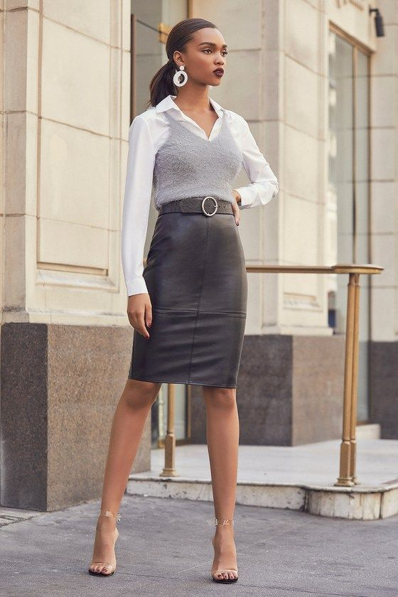 SHE'S IRRESISTIBLE BLACK VEGAN LEATHER PENCIL SKIRT