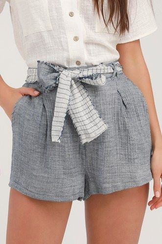 PERFECT TIME HEATHER BLUE HIGH-WAISTED SHORTS