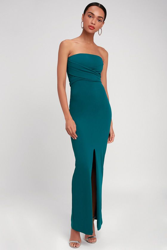 OWN THE NIGHT TEAL BLUE STRAPLESS MAXI DRESS