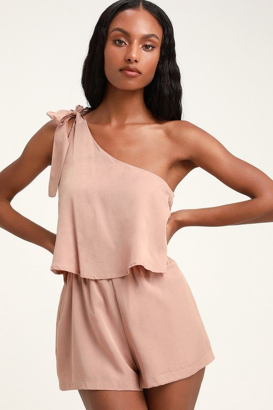 DESTINED FOR CHICNESS DUSTY ROSE ONE-SHOULDER ROMPER