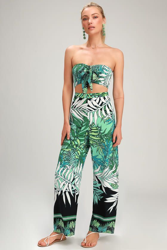 ANYWHERE WITH YOU GREEN MULTI TROPICAL PRINT TWO-PIECE JUMPSUIT