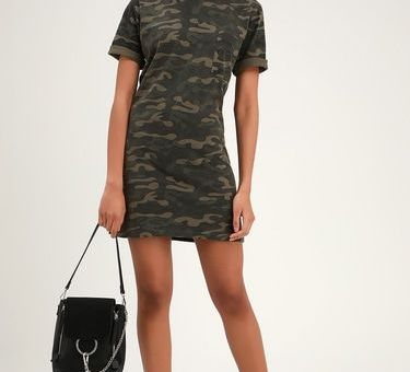 SALUTE YOUR STYLE GREEN CAMO PRINT T-SHIRT DRESS