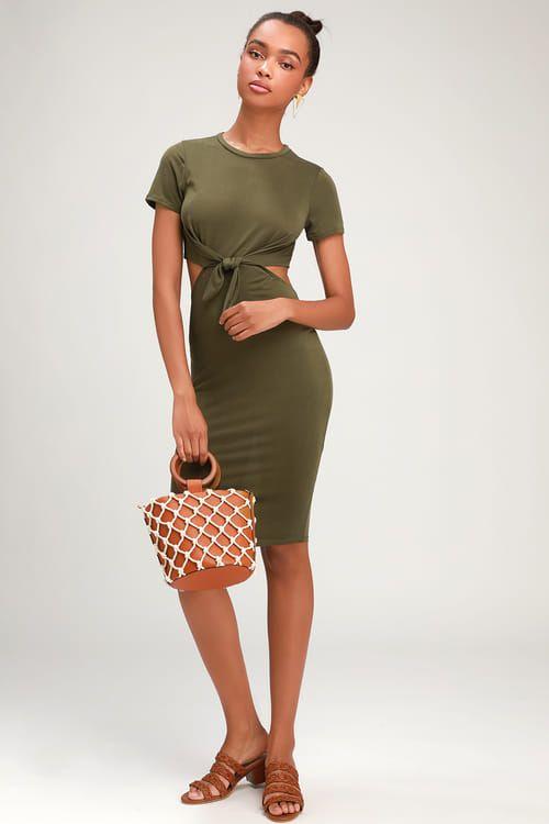 TATUM OLIVE GREEN TIE-FRONT CUTOUT DRESS