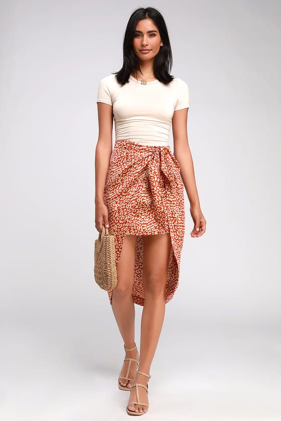 WILD FOR YOU RED LEOPARD PRINT SATIN TIE-FRONT HIGH-LOW SKIRT