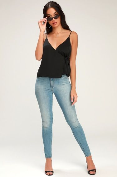 LISSIE BLACK SATIN SLEEVELESS WRAP TOP