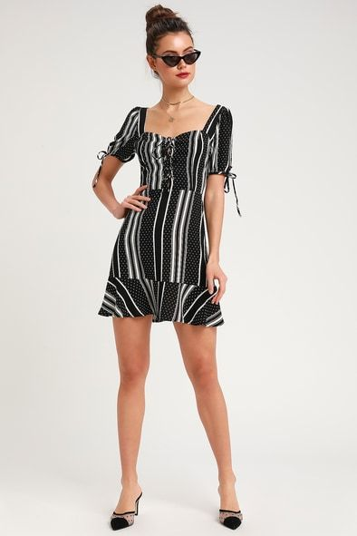 GIMME A PRINT BLACK AND WHITE STRIPED POLKA DOT LACE-UP