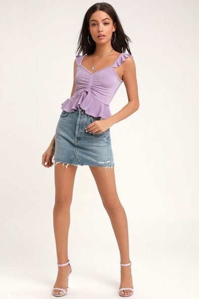 RHYTHM SEEKER LILAC PURPLE RUCHED CROP TOP