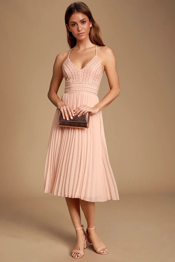DELECTABLE DELILAH BLUSH PINK EMBROIDERED MIDI DRESS