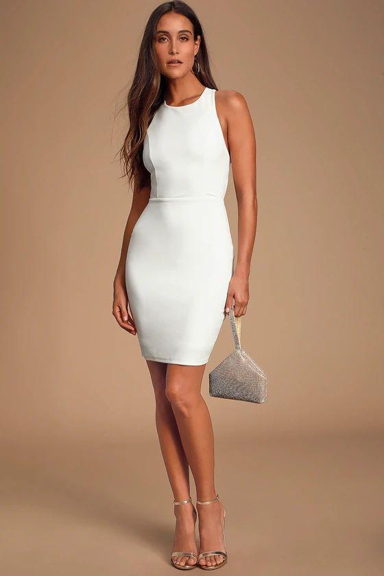 FEELING RIGHT WHITE STRAPPY BODYCON DRESS