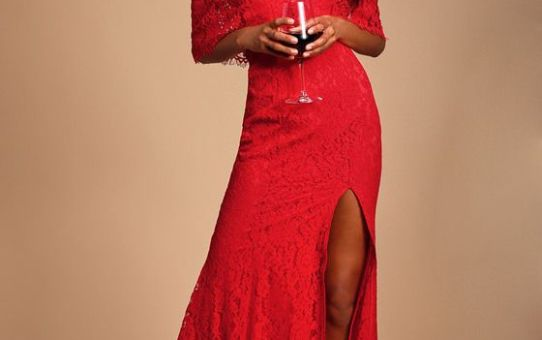 CATERINA RED LACE OFF-THE-SHOULDER MAXI DRESS