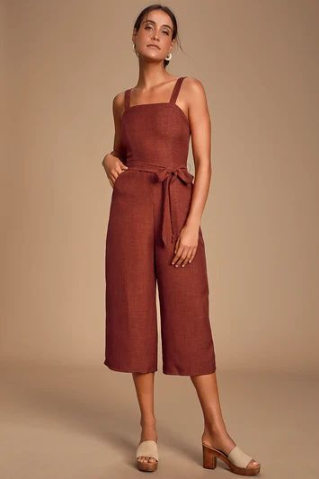MORNING MARIGOLD BRICK RED CULOTTE JUMPSUIT