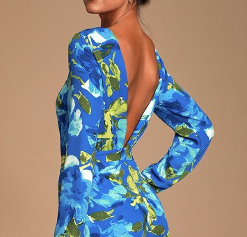 SWEETEST SONG BLUE FLORAL PRINT BACKLESS LONG SLEEVE ROMPER