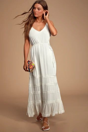 COULEE WHITE LACE MAXI DRESS
