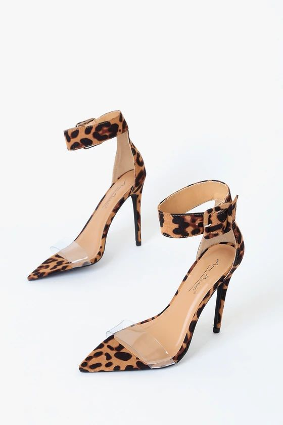 ALAINA LEOPARD SUEDE POINTED-TOE ANKLE STRAP HEELS