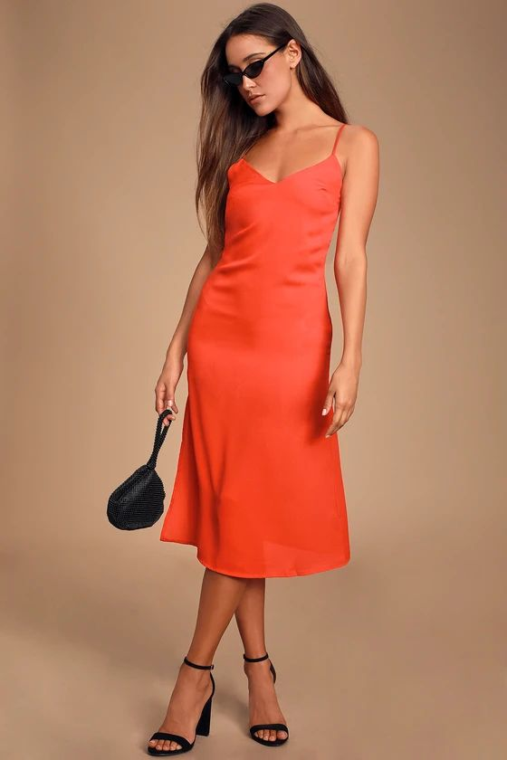 PERFECT FOR YOU CORAL RED MIDI COLUMN DRESS