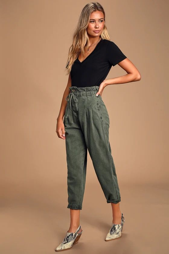 MARGATE OLIVE GREEN PAPERBAG WAIST PLEATED TROUSER PANTS