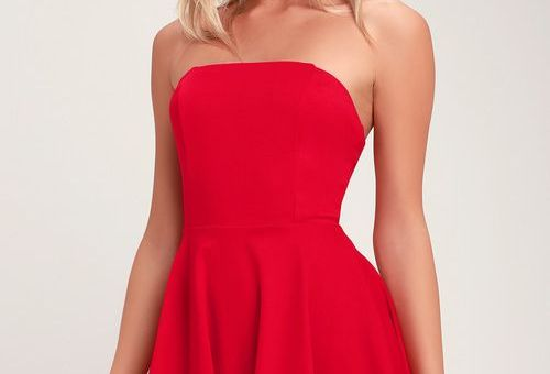 ABOUT A TWIRL RED STRAPLESS SKATER DRESS
