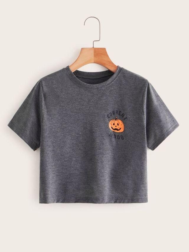 Letter And Pumpkin Print Crop Tee