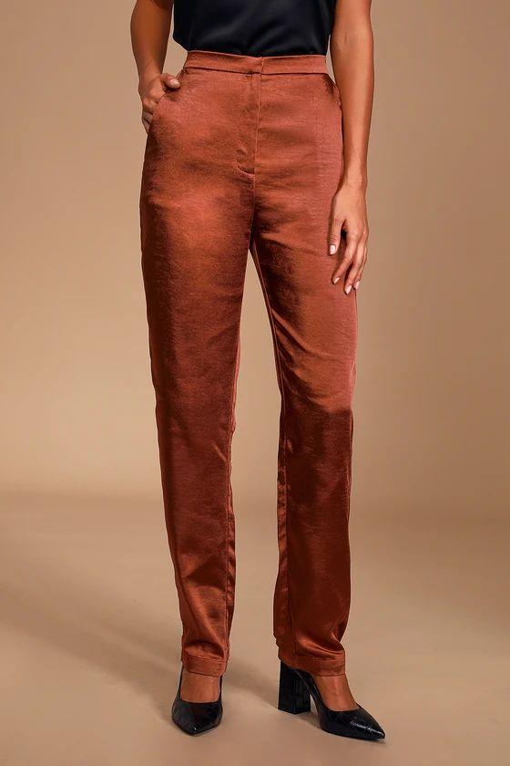 Très Chic Rust Brown Satin Trouser Pants