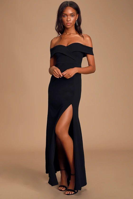 SONG OF LOVE BLACK OFF-THE-SHOULDER MAXI DRESS