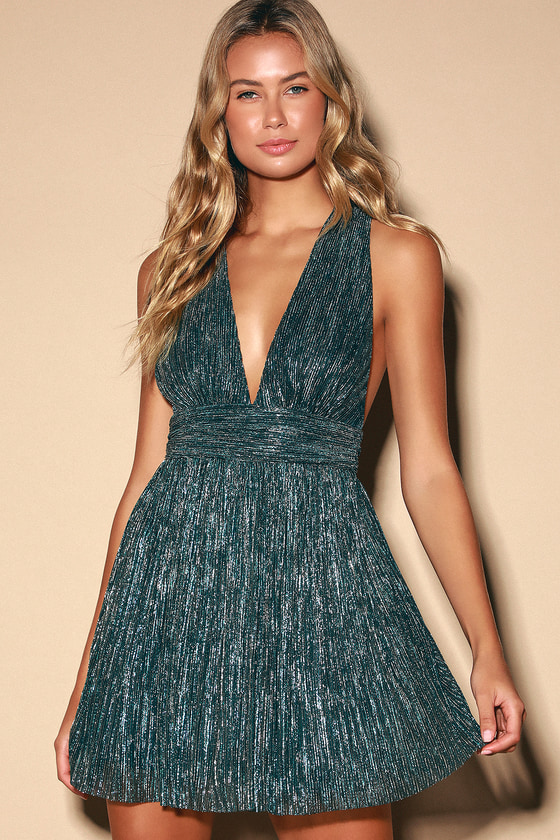 Ailey Gold and Teal Blue Skater Dress