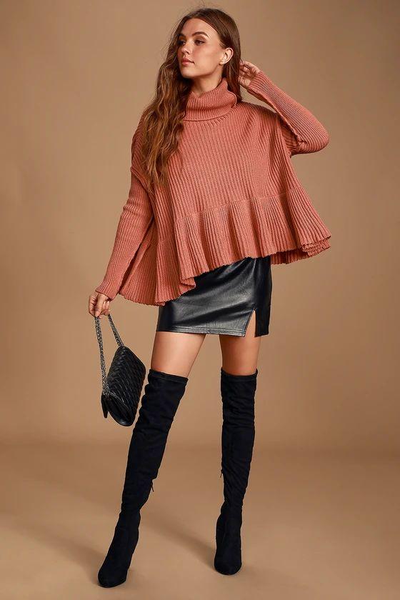 Layer Cake Rusty Rose Cowl Neck Peplum Sweater