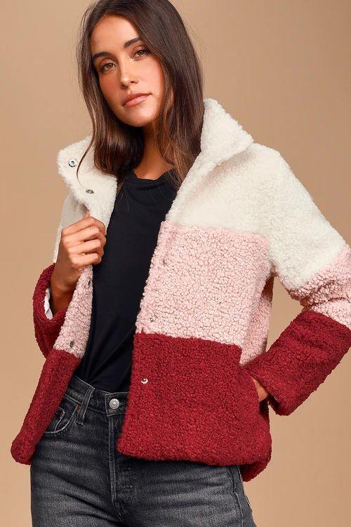 Warmest Wishes Pink Multi Color Block Sherpa Jacket