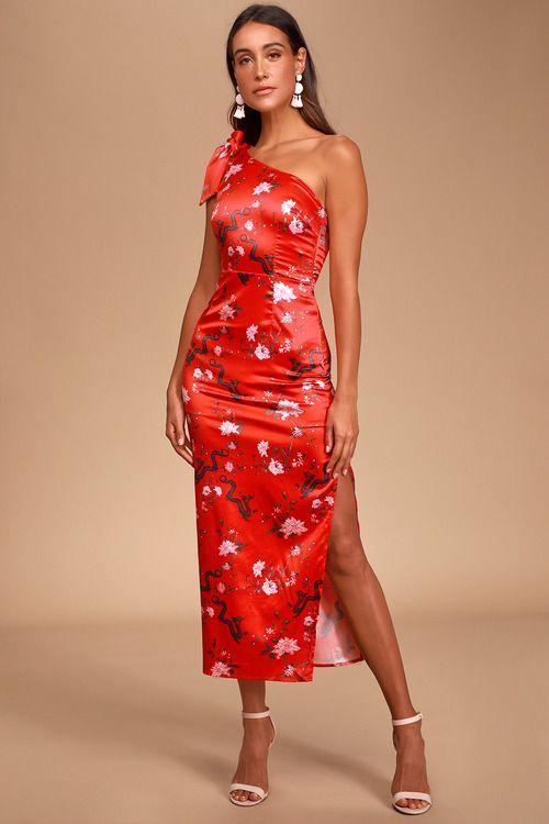 Paradiso Red Floral Dragon Print Satin One-Shoulder Midi Dress