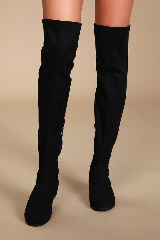They are back ladies!- Rebel Black Suede Over the Knee Boots