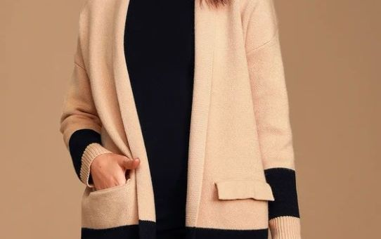 City Chic Tan and Black Color Block Cardigan Sweater